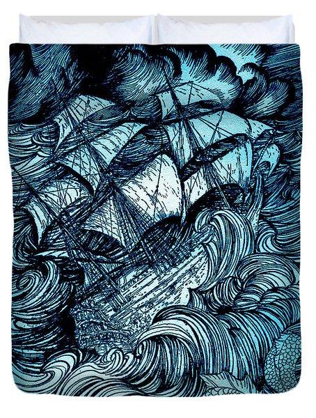 Manuscript Found In A Bottle By Edgar Allan Poe Illustration By Arthur Rackham Duvet Cover