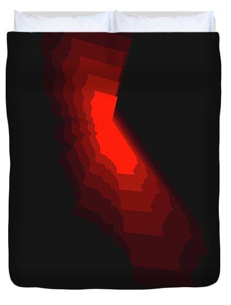 Map Of California Red Duvet Cover