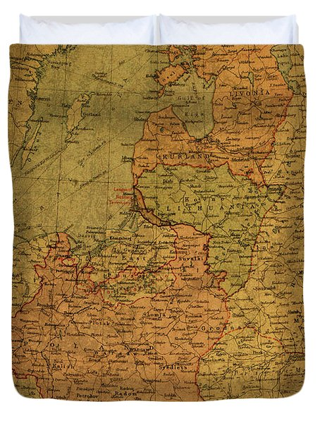 Map Of Poland And Baltic States 1920 Duvet Cover