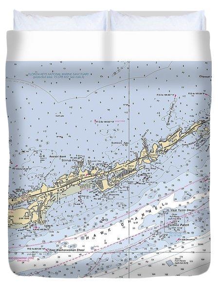 Marathon And Duck Keys Custom Noaa Nautical Chart Duvet Cover