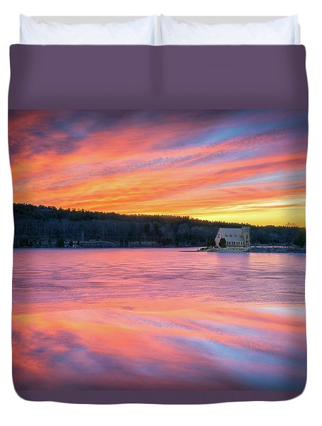 March Sunset At The Old Stone Church Duvet Cover