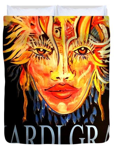 Mardi Gras Lady Duvet Cover