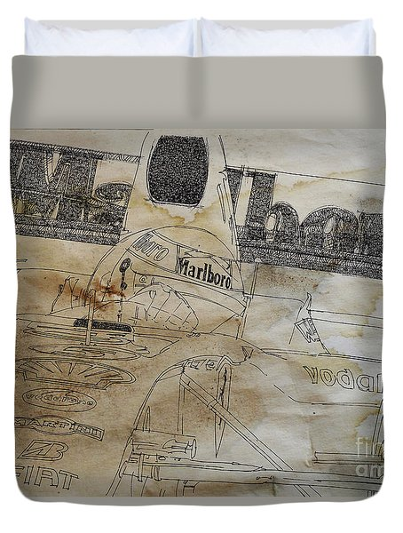 Marlboro F1 Ind And Coffee Drawing Duvet Cover