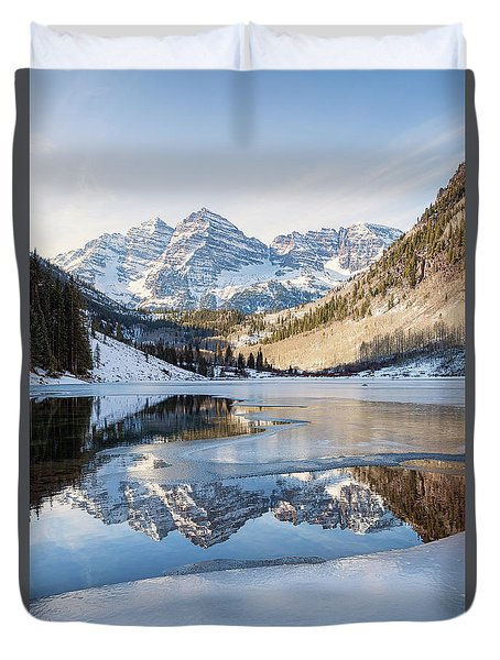 Maroon Bells Reflection Winter Duvet Cover