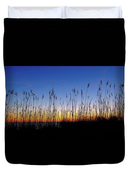 Marsh Grass Silhouette  Duvet Cover