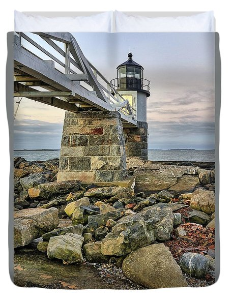 Marshall Point Light From The Rocks Duvet Cover