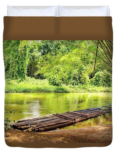 Martha Brae River Bamboo Rafting Duvet Cover