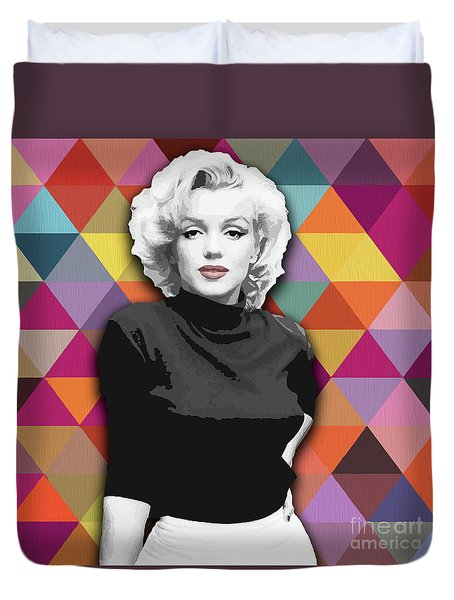 Duvet Cover featuring the painting Marylin Monroe Diamonds by Carla Bank