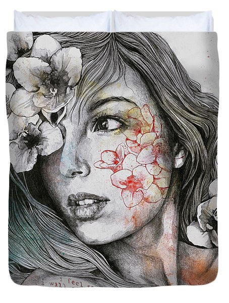 Mascara - Expressive Female Portrait With Freesias Duvet Cover