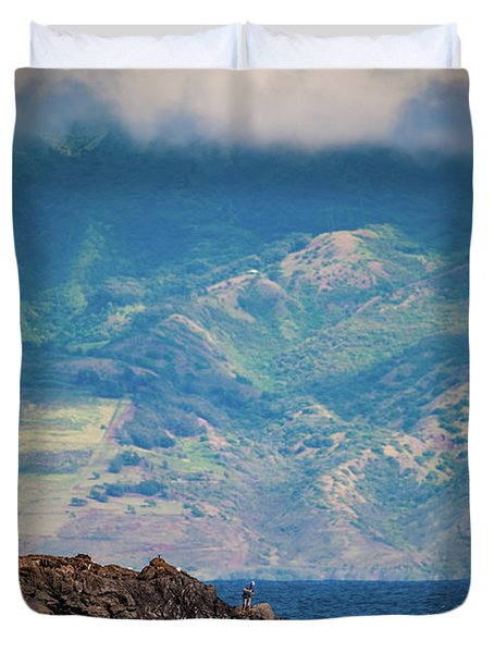Maui Fisherman Duvet Cover