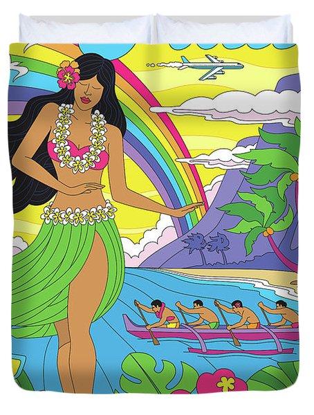 Maui Poster - Pop Art - Travel Duvet Cover