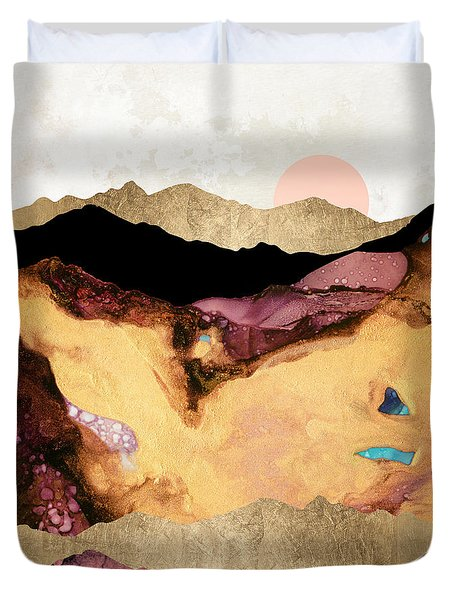 Mauve And Gold Mountains Duvet Cover