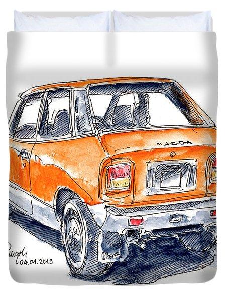 Mazda Chantez Classic Car Ink Drawing And Watercolor Duvet Cover