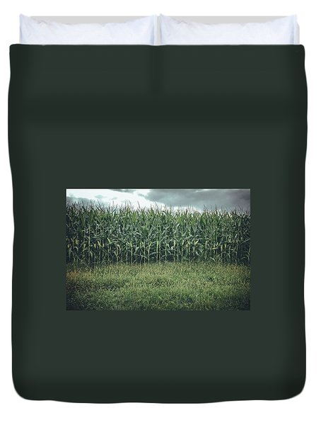 Duvet Cover featuring the photograph Maze Field by Steve Stanger