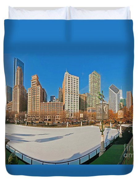 Mccormick Tribune Plaza Ice Rink And Skyline   Duvet Cover