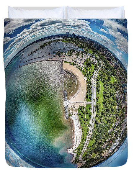 Duvet Cover featuring the photograph Mckinley Park Little Planet by Randy Scherkenbach