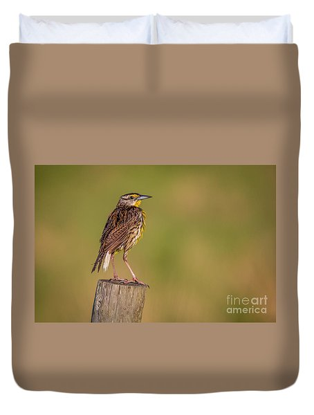 Duvet Cover featuring the photograph Meadowlark On Post by Tom Claud