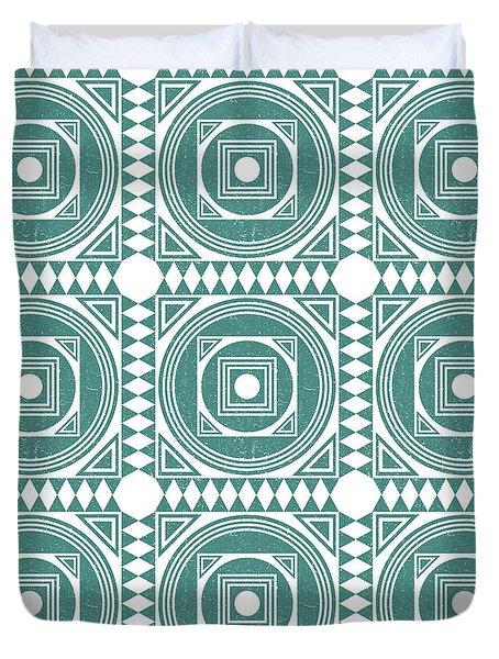 Mediterranean Pattern 4 - Tile Pattern Designs - Geometric - Teal - Ceramic Tile - Surface Pattern Duvet Cover