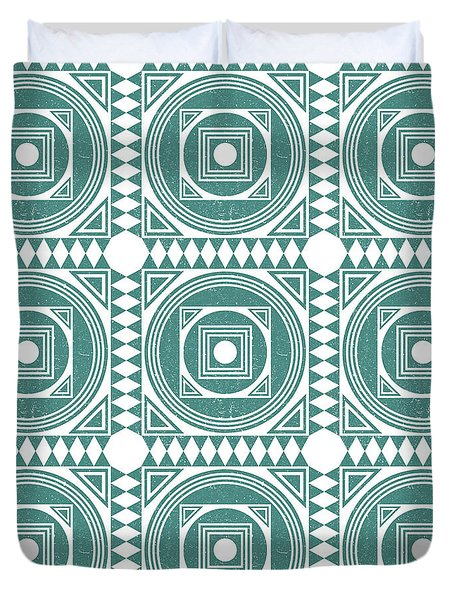 Mediterranean Pattern 4 - Tile Pattern Designs - Geometric - Teal - Ceramic Tile - Surface Pattern Duvet Cover