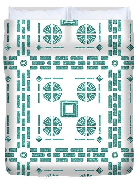Mediterranean Pattern 5 - Tile Pattern Designs - Geometric - Blue - Ceramic Tile - Surface Pattern Duvet Cover