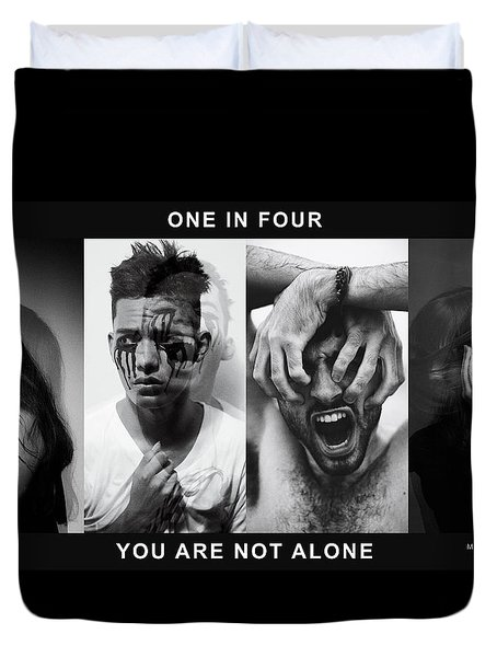 Duvet Cover featuring the digital art Mental Health Awareness - You Are Not Alone by ISAW Company