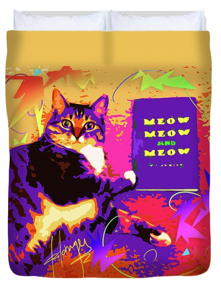 Meow, Meow And Meow Duvet Cover