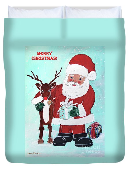Duvet Cover featuring the painting Merry Christmas Santa Reindeer by Robin Maria Pedrero