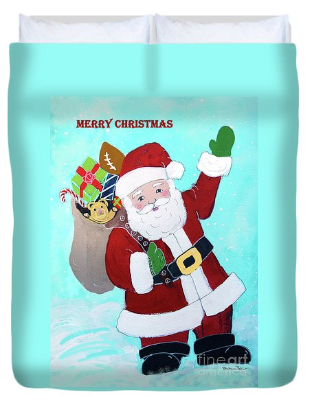 Duvet Cover featuring the painting Merry Christmas Santa With Toy Sack by Robin Maria Pedrero