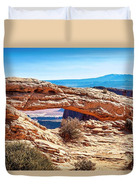 Duvet Cover featuring the photograph Mesa Arch by Andy Crawford