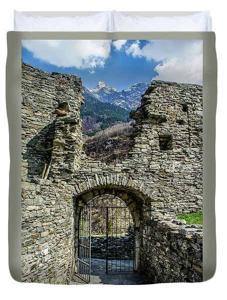 Duvet Cover featuring the photograph Mesocco Castle Gate With Mountains by Dawn Richards