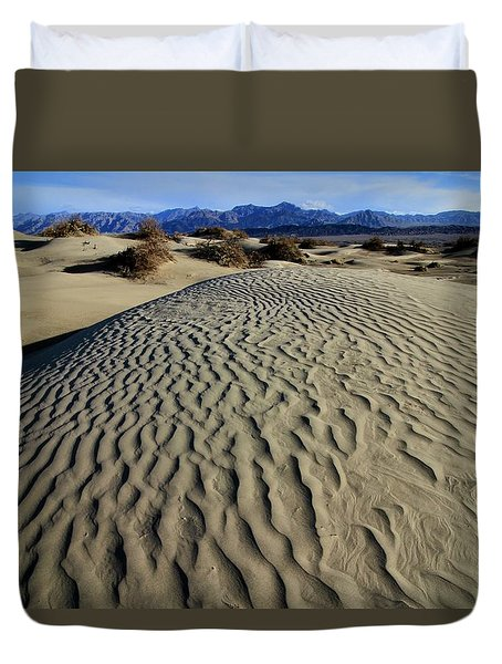 Mesquite Flat Sand Dunes Grapevine Mountains Duvet Cover