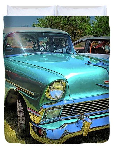Metallic Green 1956 Chevy Sedan Duvet Cover