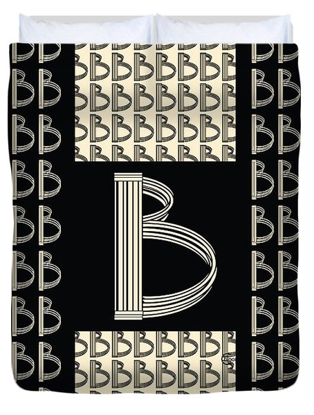 Metropolitan Park Deco 1920s Monogram Letter Initial B Duvet Cover