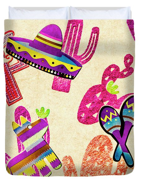 Mexican Mural Duvet Cover