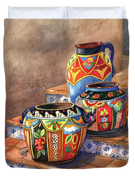 Mexican Pottery Still Life Duvet Cover