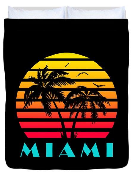 Miami 80s Tropical Sunset Duvet Cover