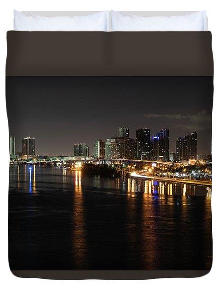 Miami Lights At Night Duvet Cover