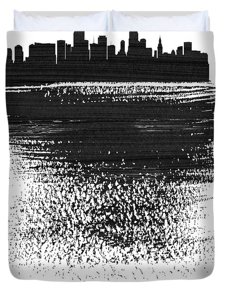 Miami Skyline Brush Stroke Black Duvet Cover