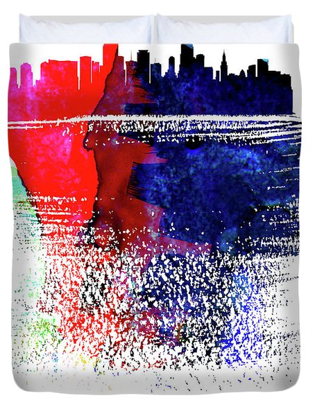 Miami Skyline Brush Stroke Watercolor   Duvet Cover