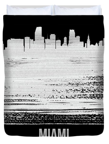 Miami Skyline Brush Stroke White Duvet Cover