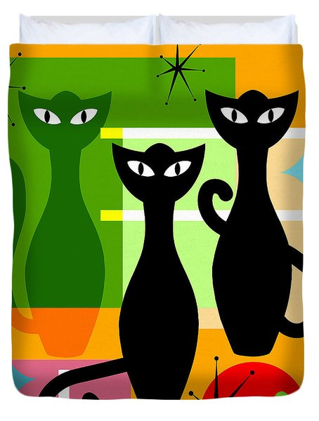 Mid Century Modern Abstract Mcm Bowling Alley Cats 20190113 Square Duvet Cover