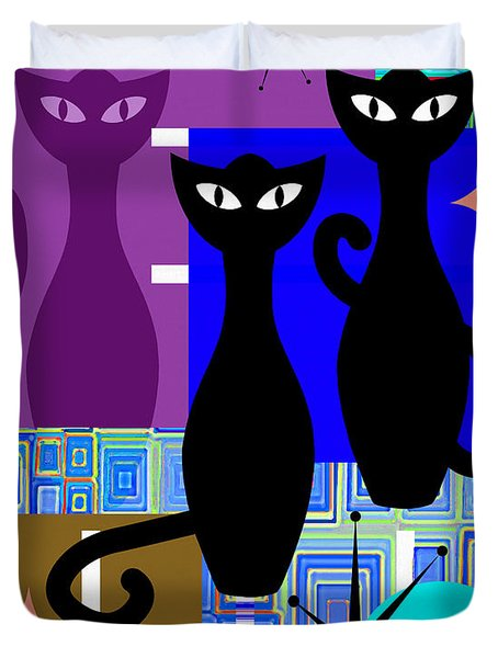 Mid Century Modern Abstract Mcm Bowling Alley Cats 20190113 V2m1 Duvet Cover