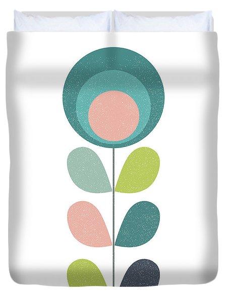 Mid Century Modern Teal Flower I Duvet Cover