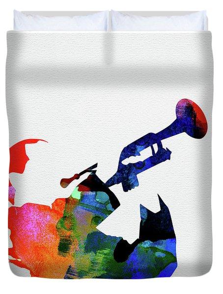 Miles Davis Watercolor Duvet Cover