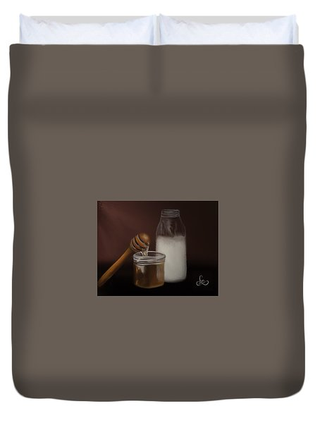 Duvet Cover featuring the painting Milk And Honey  by Fe Jones