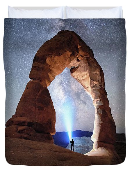 Duvet Cover featuring the photograph Milky Way Night Sky In Moab Arches National Park \ by OLena Art Brand