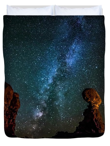 Duvet Cover featuring the photograph Milky Way Over Balanced Rock by David Morefield