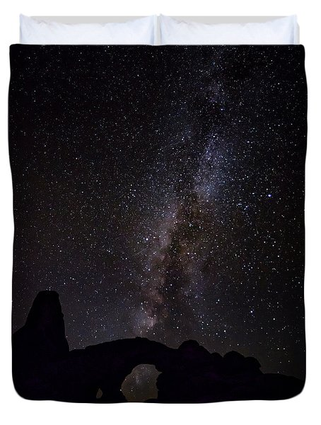 Duvet Cover featuring the photograph Milky Way Over The Windows by David Morefield