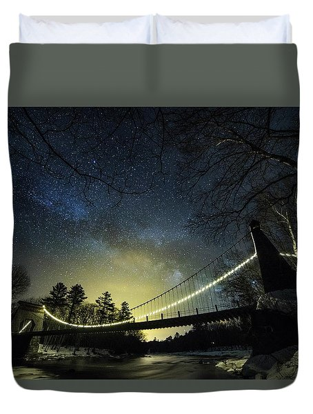Milky Way Over The Wire Bridge Duvet Cover