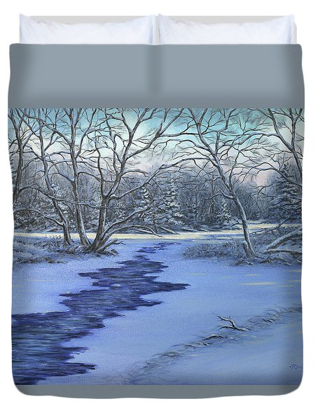 Millhaven Creek In Winter Duvet Cover